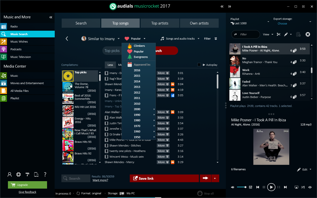 Audials Music Rocket full screenshot