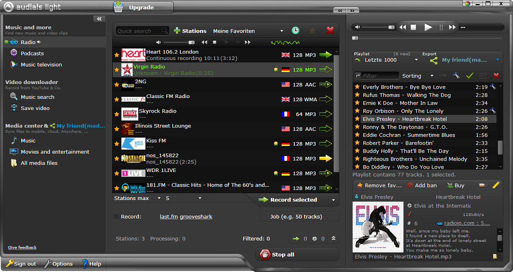 Screenshot vom Programm: Audials Light