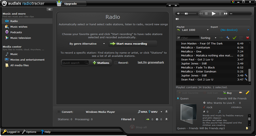 Screenshot vom Programm: Audials Radiotracker